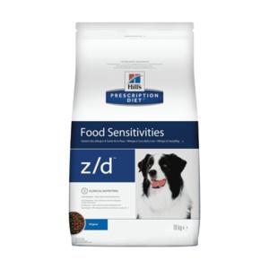 Сухой диетический гипоаллергенный корм для собак  Hill's Prescription Diet z/d Food Sensitivities при пищевой аллергии (3 кг,  8 кг).